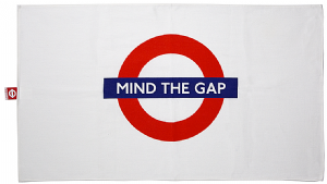 "London Underground Cotton Tea Towel  with ""Mind The Gap"" logo 740mm x 430mm (gwc)"